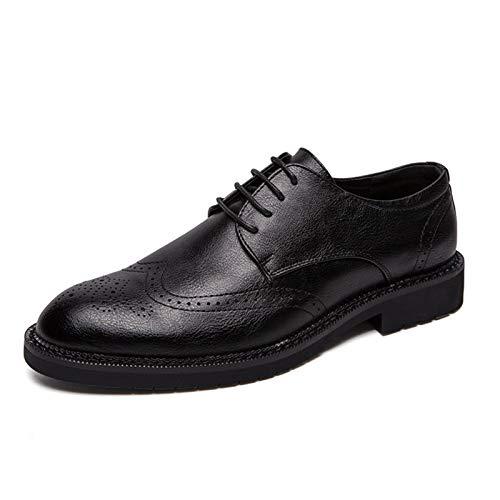WZQDM Oxfords de los Hombres Zapatos de Vestir Puntiagudo Quarter Brogues ala Consejos de ala 4-Ojo Encaje Encima de Costura Easyaje Faux Cuero Condón Suela (Color : Black, Size : 41 EU)