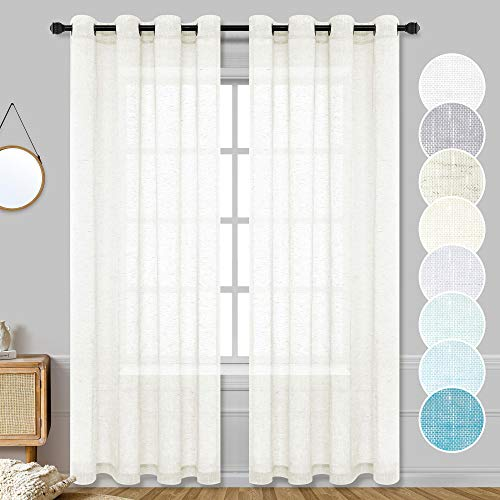 Ivory Sheer Curtains 84 Inches Long for Sliding Glass Door 2 Panel Set Grommet Window Semi Privacy Light Filtering Farmhouse Cream Off White Faux Linen Curtains for Bedroom Living Room 52x84 Length