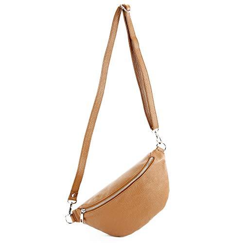 modamoda de - T211 - ital. Hüfttasche Bauchtasche Brusttasche Medium aus weichem Leder, Farbe:Camel