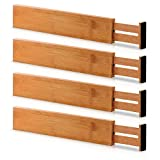 Bamboo Adjustable Drawer Dividers Organizers -...