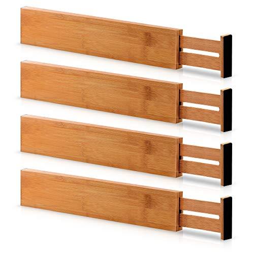 Bambusi Bamboo Drawer Dividers, Set of 4