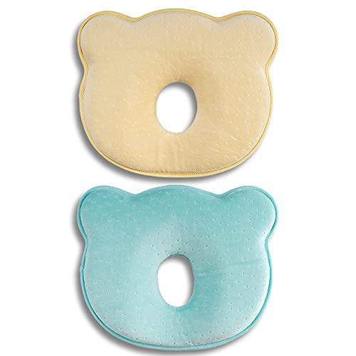 Babykissen, Babykissen Gegen Plattkopf, Neugeborenen-Kleinkindkissen, niedliche Bärenform-Säuglingskissen für Baby-Schlaf-2-Pack