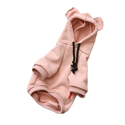 YiiJee Beiläufig Einfarbig Haustier Hoodie Mode Kleidung Geeignet für Kleine Hunde und Katzen (Rosa, M)