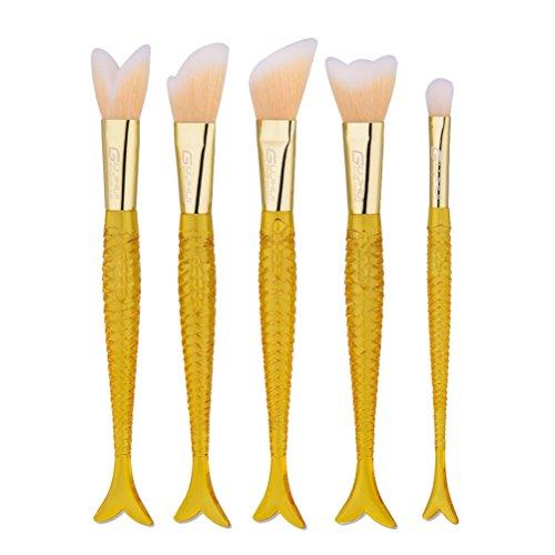 5pcs pinceaux cosmétiques mis en plastique doré pinceaux de maquillage de sirène en plastique doré pour femmes dames