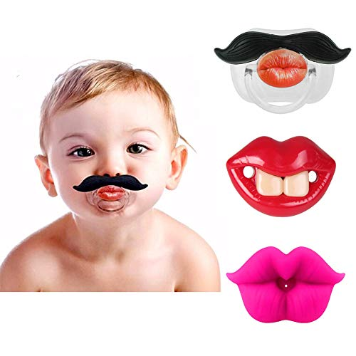 3Pcs Funny Teeth And Mustache Pacifier,Cute Gentleman Mustache Designed Baby Pacifiers for Soothe Your Newborn Baby, Perfect Baby Shower Gift For Small Boys Or Girls