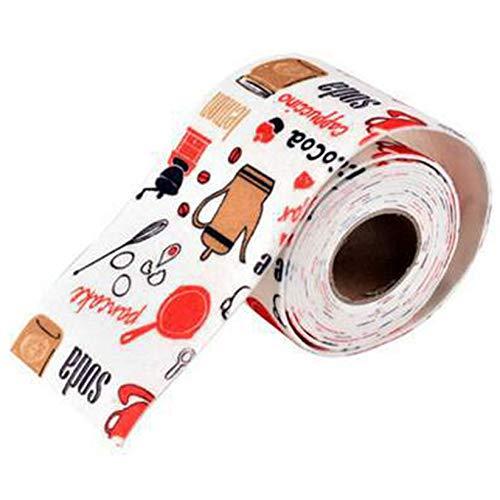 SJHFG Karikatur-Drucken-Sink-Dichtband Nette Muster-Ausgangs Badezimmer Küche Wasserdicht Dichtstreifen,Nachmittagstee Rot