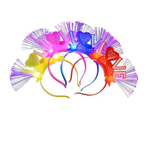 Amosfun 4 Stks Fiber Optic LED Knipperende Hoofdband Concert Lichtgevende Haarband Haar Hoop Nieuwjaar Decoratie Haaraccessoires Glow in De Donkere Party Favor