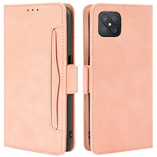HualuBro Handyhülle für Oppo Reno4 Z 5G Hülle Leder, Flip Hülle Cover Stoßfest Klapphülle Handytasche Schutzhülle für Oppo Reno4 Z 5G Tasche (Pink)