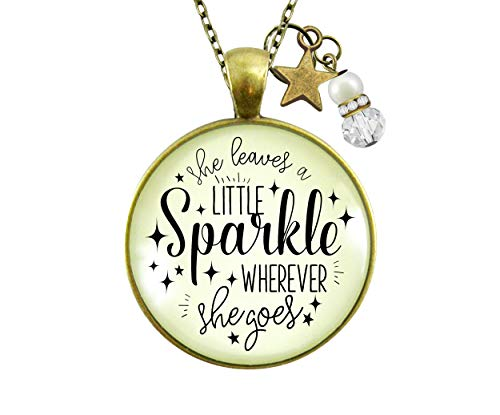 Gutsy Goodness 24' She Leaves Little Sparkle Necklace Life Quote Jewelry Gift Star Charm