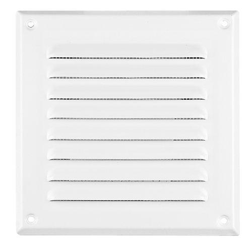 Grille de ventilation en métal blanc 165 x 165 mm filet anti-insectes, Carré, ventilation MTA 2B Protection contre les intempéries/Louvre Grille