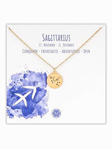 MURANDUM Sternzeichen Halskette   Zodiac Sign Star Constellation Necklace   Damen Kette mit Sternbild Anhänger (Gold, Schütze/Sagittarius)