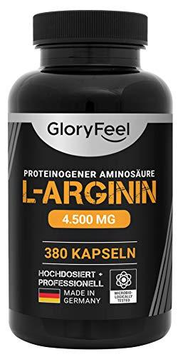 L-Arginin Hochdosiert - 380 Kapseln - Vergleichssieger 2019* - 4500mg L-Arginin HCL (3750mg reine α-Aminosäure L-Arginin) pro Tagesdosis - Laborgeprüft ohne Zusätze hergestellt in Deutschland