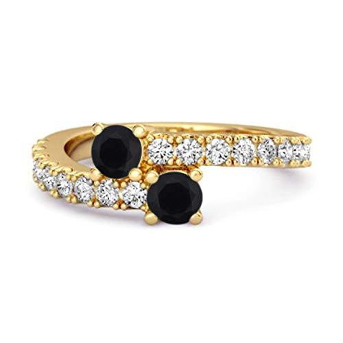 Shine Jewel Multi Elija su Piedra Preciosa 0.04 CTS Anillo único de vástago Dividido Chapado en Oro Amarillo de Plata de Ley 925 (15, espinela Negra)