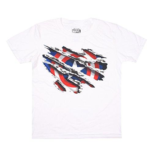 Marvel Captain America Torn, Camiseta para Hombre, Blanco, Large