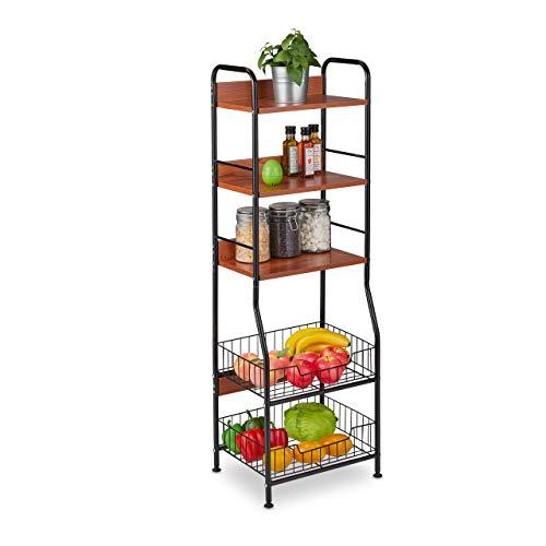 Relaxdays Küchenregal, 5 Ebenen, Obst-& Gemüsekörbe, für Küchenzubehör, schmales Vorratsregal, Metall & MDF, schwarz, 1 Stück