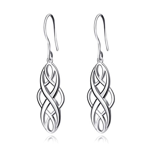 Celtics Earrings Sterling Silver Irish Vintage Celtic Knot Dangle Earrings White Gold Plated Celtics Jewelry Dangles Gifts for Women Teens Girls