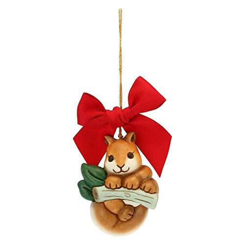 THUN - Addobbo Scoiattolo su Ramo per Albero di Natale - Formato Grande - Ceramica - Linea Preludio dinverno - 7,6x5,7x4,5 cm