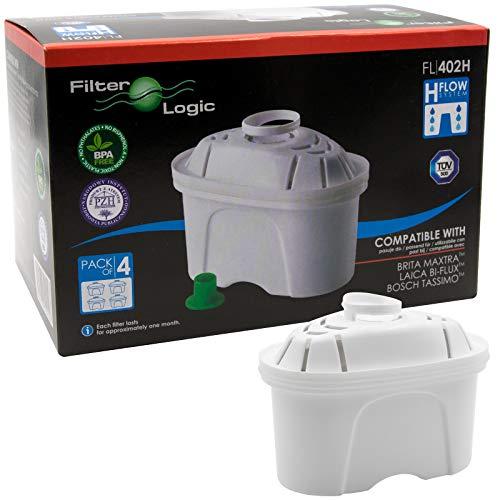 FilterLogic FL402H | Lot de 4 - Cartouche Filtrante compatible avec Brita Maxtra Filtre à Eau pour la Carafe fill&enjoy Marella XL Fun Flow Elemaris