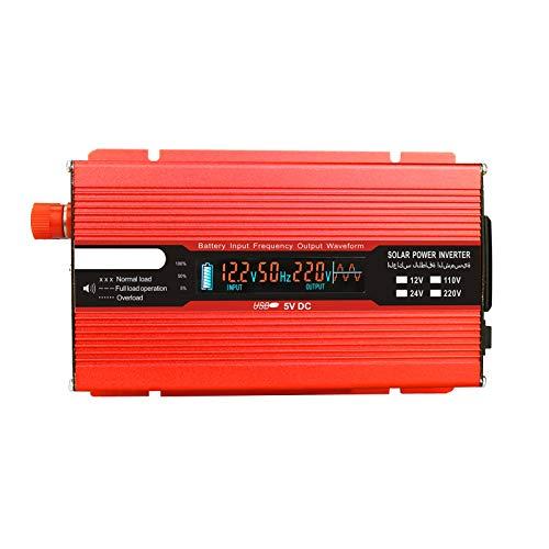 pedkit Inversor de corriente del coche,Convertidor de voltaje 1000W 2000W 12V 240V Inversor Inversor de corriente USB con 1 enchufe y pantalla LCD