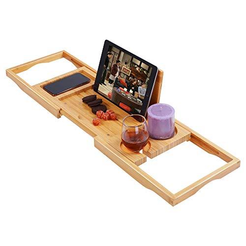 Utoplike Bamboo Bathtub Caddy Tray Bath Tray for Tub,...