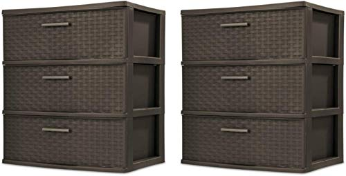 Sterilite 25306P01 3 Drawer Wide Weave Tower, Espresso Frame & Drawers w/ Driftwood Handles, 1-Pack (2-Units, Espresso)