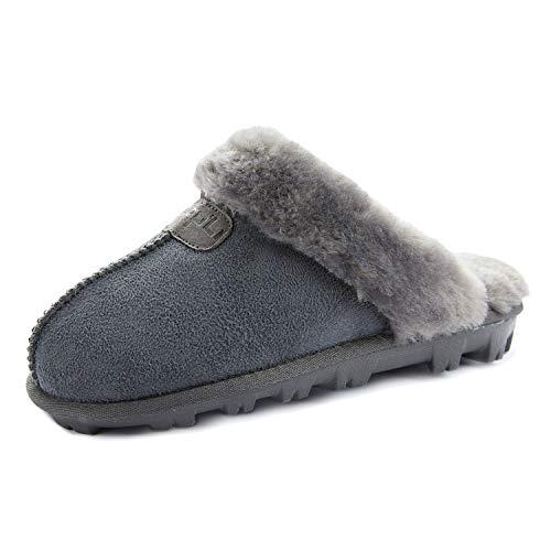 CLPP'LI Womens Slip on Faux Fur Warm Winter Mules Fluffy Suede Comfy Slippers-Grey-10