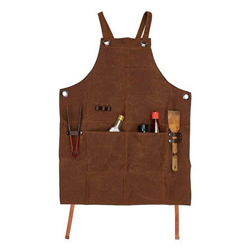 Arbeitsschürze, Mehrzweck-Schürze, strapazierfähig, gewachstes Segeltuch, wasserdicht, ölbeständig, Werkzeugschürze mit Werkzeugtaschen für Holzarbeiten, Basteln, Malen, CS-WQ46