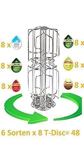 Stilvoller 48 Kaffee Pads Halter Drehend Rotierender Kapseln Stand für Bosch Tassimo Pads (48 Kapseln) das Original von James Premium