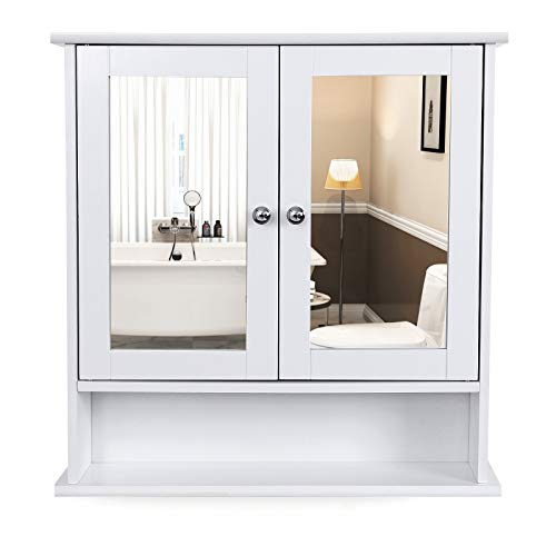 VASAGLE Mobiletto Pensile da Bagno con 2 Ante a Specchio, Armadietto da Parete, Specchio Contenitore con Ripiani Regolabili, 56 x 13 x 58 cm, Bianco LHC002
