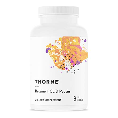 Thorne Research - Betaine HCL and Pepsin - Digestive Enzymes for Protein Breakdown and Absorption - 450 Capsules