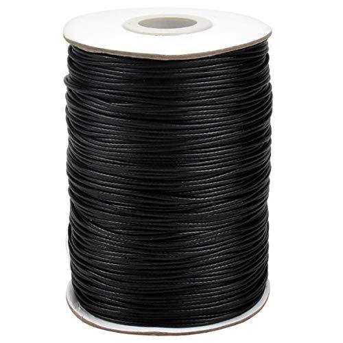 174 Yardas Cordón Encerado, 1 mm Hilo Encerado de Cuentas, Redondo Cordón Tira Hilo para Joyería, Pulsera, Collar, Manualidades, Fabricación Bricolaje, Cuero Costura a Mano (Negro)