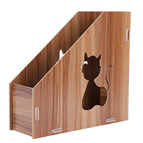 Revistero organizador de escritorio de madera para revistas, diseño de gato hueco DIY caja de almacenamiento, ficheros de libro diario A4, papel módulo de clasificación de almacenamiento de documentos