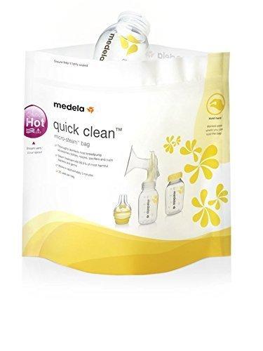 Medela Quick-Clean Mikrowellenbeutel, Sterilisator für Babyflaschen, Sauger und Stillzubehör in der Mikrowelle, bis zu 20 Mal verwendbar, 5er Pack