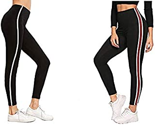 HELISHA ® Women's Slim Fit Jeggings| Gym wear Leggings |Ankle Length Free Size Combo Workout Trousers | Stretchable Stripe...