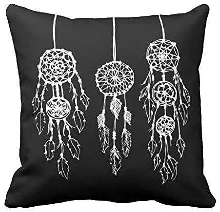 N\A Funda de Almohada de algodón Bohemian Dreamcatchers en Blanco y Negro