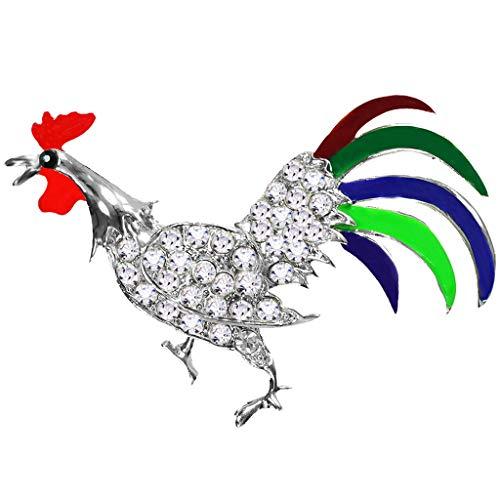 IPOTCH Esmalte del Gallo de La Insignia del Pin del Pecho del Rhinestone Multicolor para El Traje de La Bufanda Ropa de La Joyería del Paño - Plata