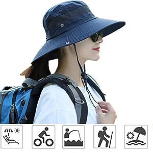 日よけ帽子 UVカットアウトドア帽子 サファリハット レディースアウトドア メンズアウトドア 作業用 自転車用帽子 つば広 レディースキャップ 折りたたみ可 男女兼用 2way仕様 ネイビー