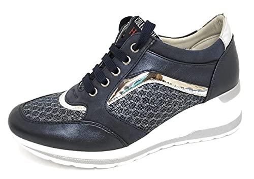 Zapatillas Deportivas Mujer con Estilo | Bambas Comodonas Cuña | Tenis Plataforma Casual | Plata | Champagne | Dorado | Negro | Rojo |Rosa | Azul |Blanco | Nude (Azul, Numeric_38)