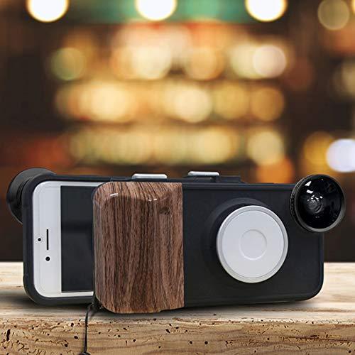 NOLOGO Mit Weitwinkel + Makro + Fisheye-Objektiv (schwarz), RK23 for iPhone 6 & 6S 9 Punkte Helligkeit Schönheit Selfie Fill Lightheaded Phone Case Silikon-Anti-Scratch (Color : Black)