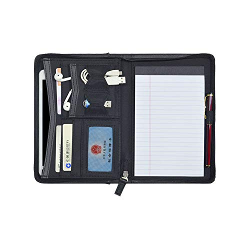 Godery Padfolio/Portfolio, Mini Leather Zippered Padfolio Portfolio Binder 5 x 8 Legal Writing Pad, Professional Business Portfolio for Men & Woman, Card Holder, Notepad Clipboard Holder (Black)