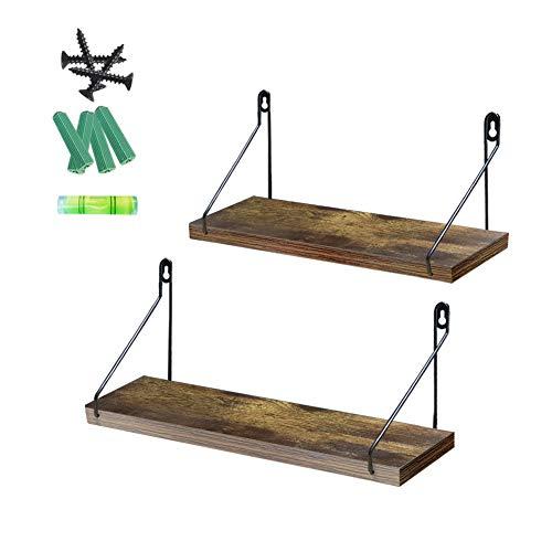 UMI. by Amazon Estantes flotantes de Madera rústica para Salas de Estar, dormitorios, cocinas y baños, Set de 2