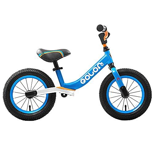 Maydolly Bambini Balance Bike Baby Ride On Toy 12 Inch 2 Ruote Bikes senza Pedali per 3-6 Anni Ragazzi Blu