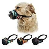 LUCKYPAW Dog Muzzle for Small Medium Large Dog to Prevent Biting Barking Chewing, Printed Nylon Dog Mouth Cover with Adjustable Velcro and Comfort Fit