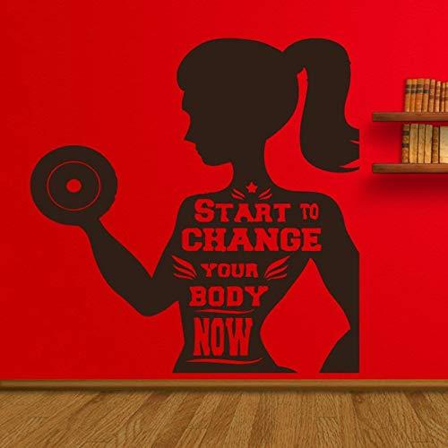 Comience a cambiar pegatinas de pared de fitness para sala de estar dormitorio de niñas decoración del hogar ejercicio deportes fitness vinilo pegatinas de pared