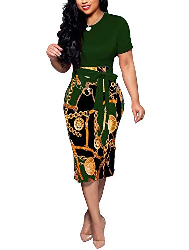 Women' Short Sleeve Bodycon Dress -Cute Bowknot Floral Pencil Dress Medium Dark Green