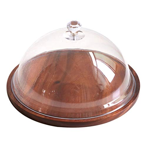 HEMOTON Wood Server Cake Stand with Clear Acrylic Dome Round Cake Display Plate Serving Platter Dessert Storage Tray Wedding Xmas New Year Party Supplies