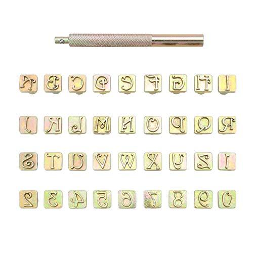 Mogokoyo - Juego de Sellos de Letras y números, Herramientas para Hacer Sellos de Cuero, Tallado Artesanal, para Bricolaje, Hecho a Mano, Dorado, 9.0 mm