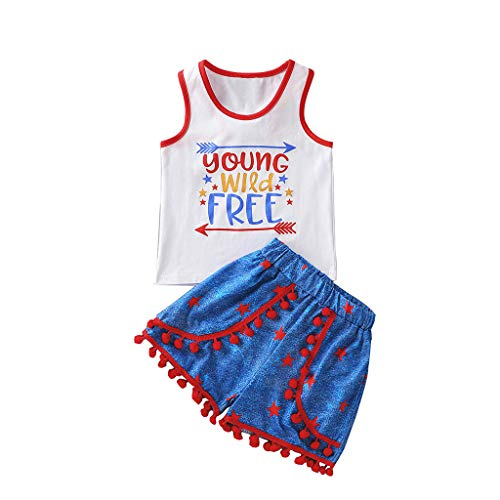 Allegorly Kleinkind Baby Boys 4. Juli Sterne Patriotischer Brief T-Shirt Pompon Shorts Set Jungen Independence Day Holiday Schriftzug Weste Top Shorts 2-teiliges Set