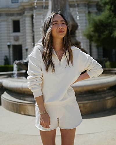 The Drop Women's Whisper White Half-Zip Collared Sweatshirt by @spreadfashion
