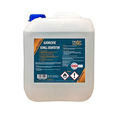 INOX® Hände & Flächen Desinfektionsmittel mit Alkohol, 5L - Entfetter Desinfektion für Hand, Haut und Flächen